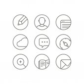 Different web browser icons set with rounded corners. Design ele — Cтоковый вектор