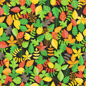 Different leaf collection seamless background — Stock Vector