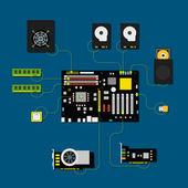 Computer connection scheme. Different computer devices collectio — Stock Vector