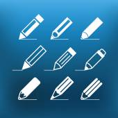 White pencil icons clip-art on color background. Design elements — Stock Vector