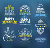 Merry Christmas and a happy New Year wishes. Design elements  — Stockvektor