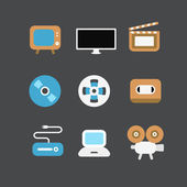 Different video industry icons set. Flat design elements — Stock Vector