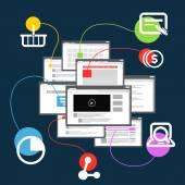 Different browser windows. communication scheme  — Stock Vector