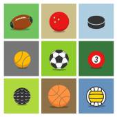 Sport ball silhouettes color collection — Stock Vector