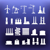 White industrial icons clip-art on color background — Cтоковый вектор