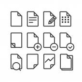 Different documents icons set with rounded corners. Design eleme — Stock Vector