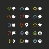 Color web interface icons clip-art. Design elements — Stock Vector