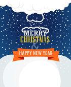 Christmas greating card. Snowfall on Winter — Stockvektor