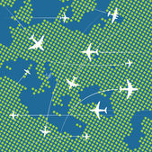 Airplanes flying over the abstract map of europe — Stock Vector