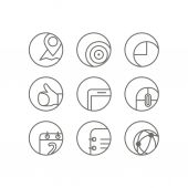 Different web browser icons set with rounded corners. Design ele — Stockvektor