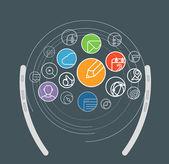 Information transfer scheme. Design elements — Stock Vector