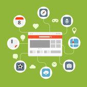 Web browser information transfer concept — Vetor de Stock