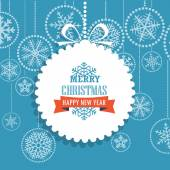Christmas greeting card with snowflakes on background. Merry Chr — Stock Vector