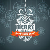 Vintage style Christmas greeting card. Merry Christmas and Hapy — Stock Vector