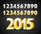 Metal digits collection. Happy new 2015 year — Stock Vector