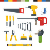 Different tools flat collection — Stock Vector