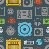 Audio equipment icons color seamless pattern — Stock Vector