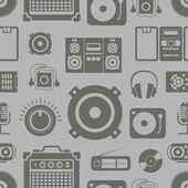 Audio equipment icons collection seamless pattern — Stock Vector