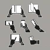 Information fransfer concept silhouettes clip-art. Simple line d — Stock Vector