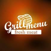Grill menu návrh štítku. Vektorové lineart koncept — Stock vektor