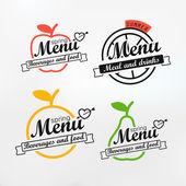 Different menu labels design set. Vector lineart concept  — Stock Vector
