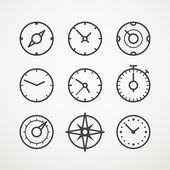 Different slyles of speedometers vector collection — Stock Vector