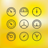 Different slyles of speedometers vector collection on blured bac — Stock Vector