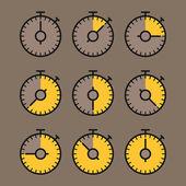 Vector chronometer clip-art. Flat design elements — Stock Vector