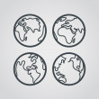 Earth web icons collection. Round lineart design pictograms — Vetor de Stock  #76047431