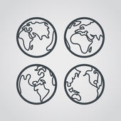 Earth web icons collection. Round lineart design pictograms — Stock Vector