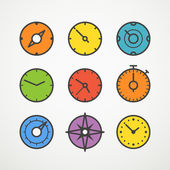 Different slyles of color speedometers vector collection — Stock Vector