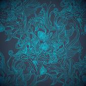 蓝色的魔术手绘图的无缝背景 — 图库矢量图片