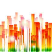 Rainbow city geometric background — Stock Vector
