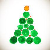 Christmas tree stylized watercolor illustration — Vector de stock