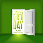 Happy birthday green room card concept with open door — Stock Vector
