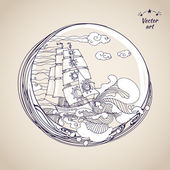Croquis de voiliers dessin plume au label cercle — Vettoriale Stock