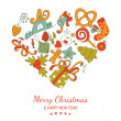Colorful heart shape vector christmass emblem — Stock Vector #55578985