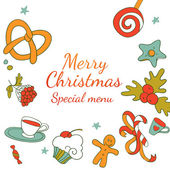 Drawing elements frame for Xmas special menu — Stock Vector