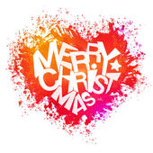 Merry christmas bright colors watercolor heart — Stock Vector