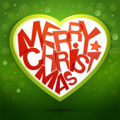 Merry christmas heart message at green backdrop — Stock Vector