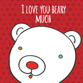 Love you beary much hand drawing greeting card — Vecteur