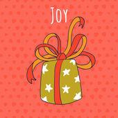 Joy and gift drawing greeting card — Stock Vector
