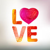 Love you watercolor vector card with heart — Cтоковый вектор