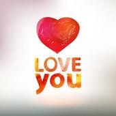 Akwarele karta z serca i miłości — Wektor stockowy