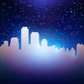 Night city sky with stars background — Stock Vector