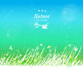 Spring sky with grass frame for your text — Stock Vector