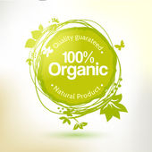 Green hand drawing label for organic product — Stock Vector