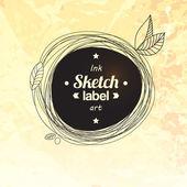 Floral drawing splash elements label concept — Stock Vector
