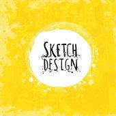 Mão de pintura abstrata desenho de etiqueta em papel artístico — Vetor de Stock