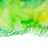 Watercolor abstract background with hand drawing garden grass — Stockvektor